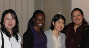Scholarship winners Wai (Jackie) Cheung, Sunshine Kamaloni, Catherine Fu, and Farhat Saba