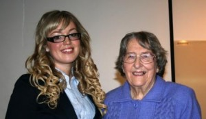 Award winner Skye Kinder with GWV member Beryl Green