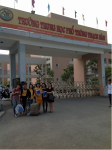 Minh (first from right) & data collection assistants in front of a participating school