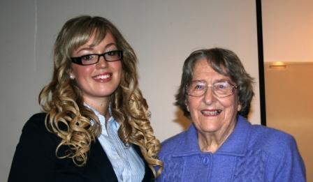 Award winner Skye Kinder with GWV member Beryl Green